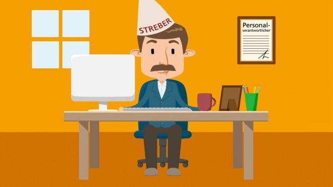 Cartoon, wo ein Mann mit Schnauzbart am Tisch sitz und einen Streber-Hut trägt