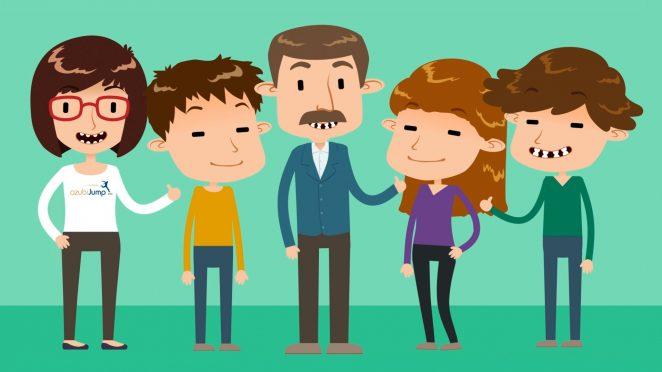 Cartoon, wo 5 Menschen freudig zusammenstehen